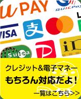 クレジット&電子マネーもちろん対応!
